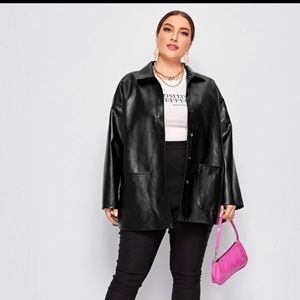 Oversized Leather Jacket in black